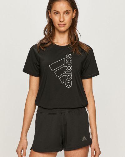 Czarny top sportowy z printem dzianinowy Adidas