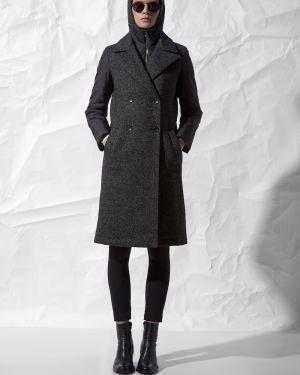 Пальто с капюшоном серое на молнии Vassa&co