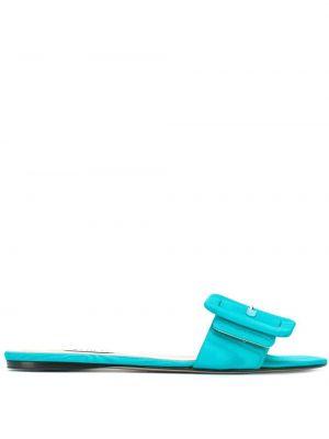 Niebieskie sandały skorzane płaska podeszwa Attico