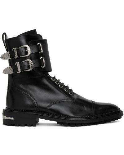 Кожаные черные сапоги с высоким голенищем на шнуровке с пряжкой Toga Virilis