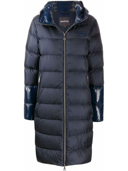 Niebieski płaszcz z kapturem z długimi rękawami Duvetica
