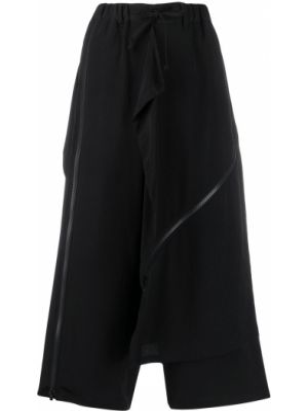 Укороченные брюки черные на молнии Yohji Yamamoto