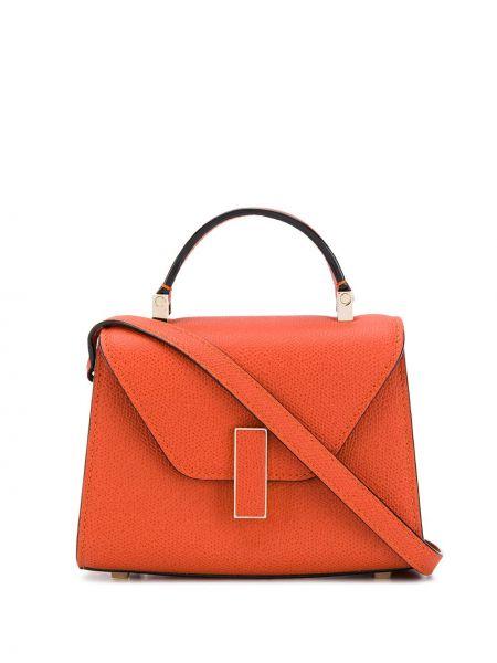 Оранжевая сумка-тоут металлическая с карманами Valextra