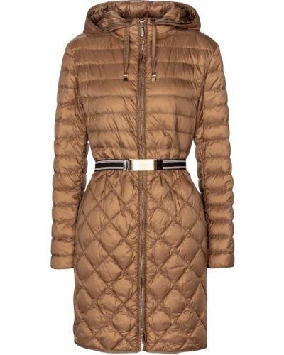 Коричневое стеганое пуховое пальто Max Mara