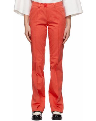 Pomarańczowe spodnie bawełniane z paskiem Ader Error