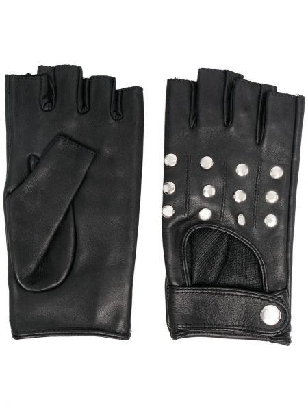 Czarne rękawiczki bez palców skorzane Manokhi