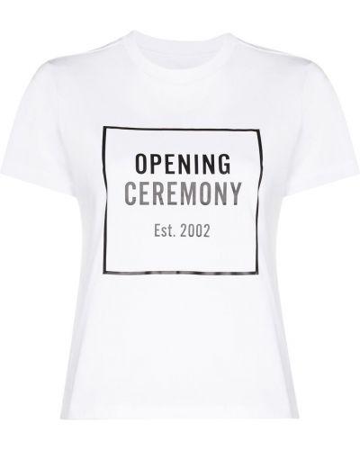 Хлопковая белая футболка с круглым вырезом с короткими рукавами Opening Ceremony