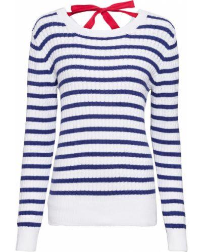 Белый пуловер в полоску Bonprix