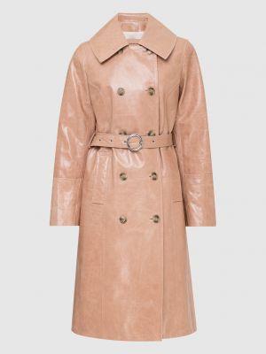 Бежевое кожаное пальто Yves Salomon