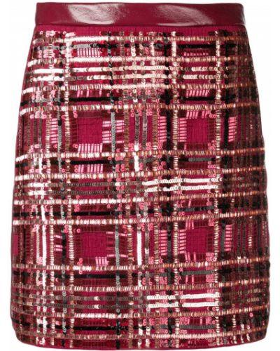 Бордовая с завышенной талией юбка мини на молнии из вискозы Elisabetta Franchi