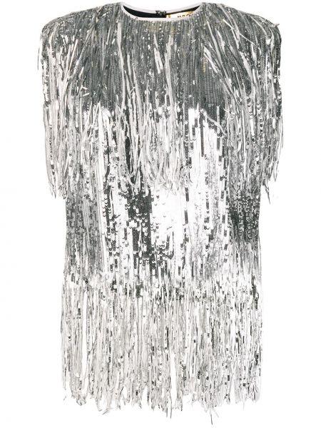 Серебряный топ с бахромой на пуговицах Msgm