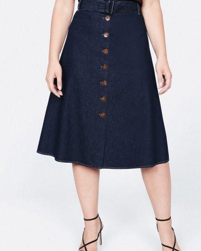 Джинсовая юбка фиолетовый синяя Violeta By Mango