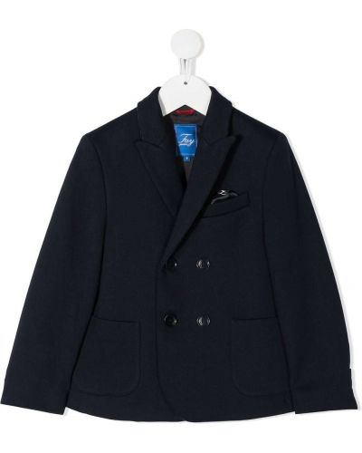 Синий пиджак с карманами на пуговицах с лацканами Fay Kids