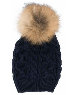 Prążkowana niebieska czapka wełniana Woolrich Kids
