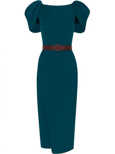 Шерстяное синее платье с поясом Oscar De La Renta