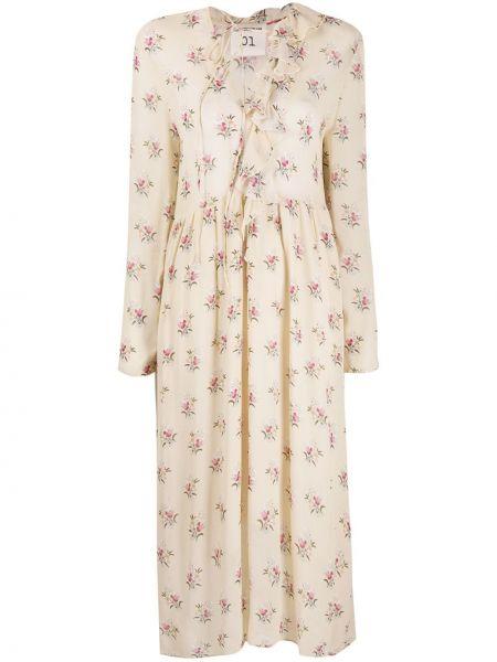 Асимметричное бежевое платье миди с V-образным вырезом с длинными рукавами Semicouture