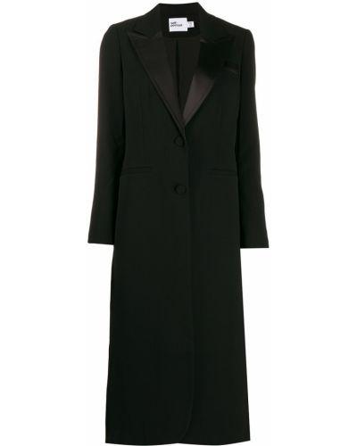 Черный удлиненный пиджак с карманами Self-portrait