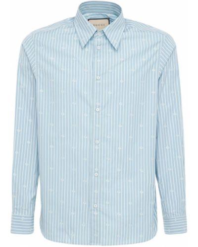 Niebieski bawełna koszula z mankietami z paskami Gucci