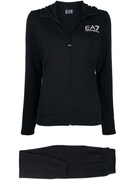 Czarny dres z kieszeniami z długimi rękawami z mankietami Ea7 Emporio Armani