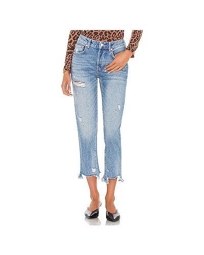 Синие рваные джинсы-скинни на пуговицах Free People