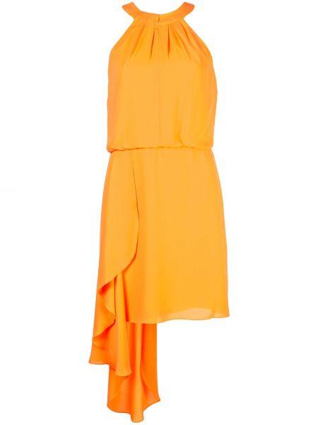 Платье мини прямое с оборками Halston Heritage