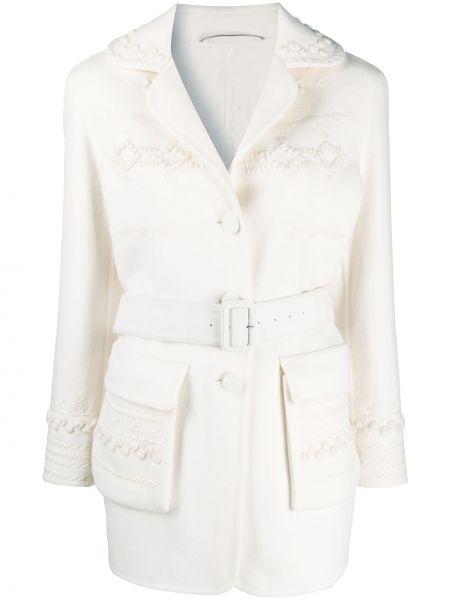 С рукавами белая длинная куртка из альпаки Ermanno Scervino