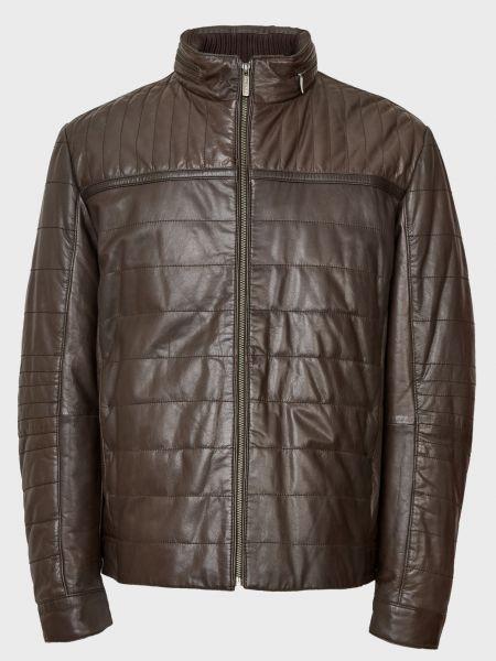 Кожаная куртка на молнии - коричневая Gallotti