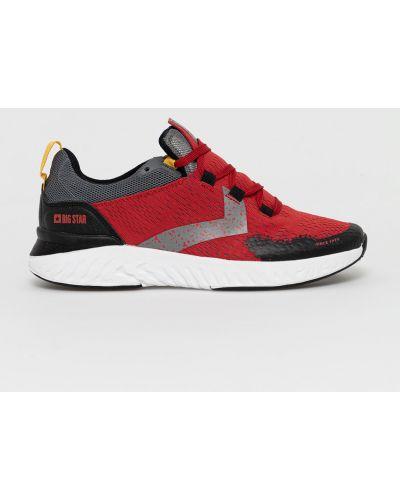 Czerwone sneakersy na obcasie sznurowane Big Star