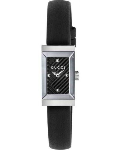 Черные с ремешком кожаные часы на кожаном ремешке Gucci