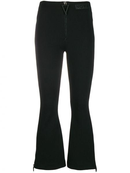 Нейлоновые черные расклешенные спортивные брюки с высокой посадкой No Ka 'oi