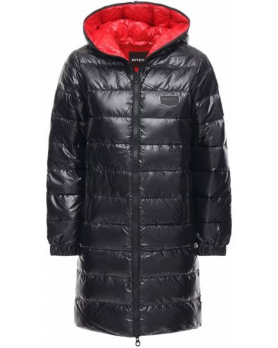 Нейлоновая черная куртка с капюшоном на молнии двусторонняя Duvetica