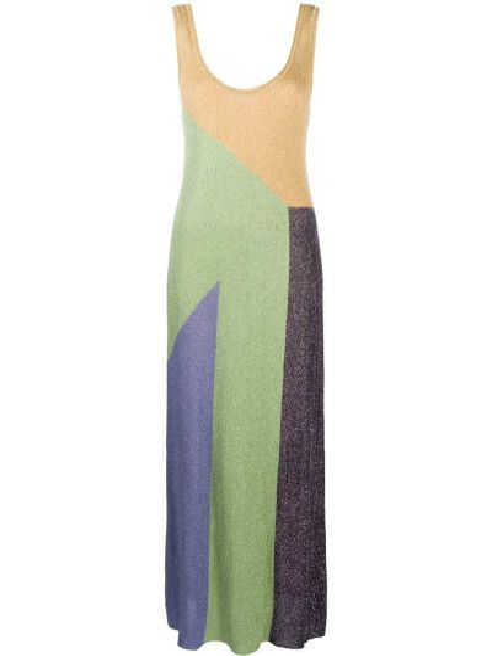 Вязаное зеленое платье макси с вырезом M Missoni