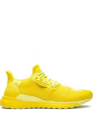 Кружевные желтые кроссовки беговые для бега на шнуровке Adidas