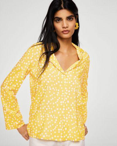 Блузка прямая с V-образным вырезом в клетку с поясом Mango