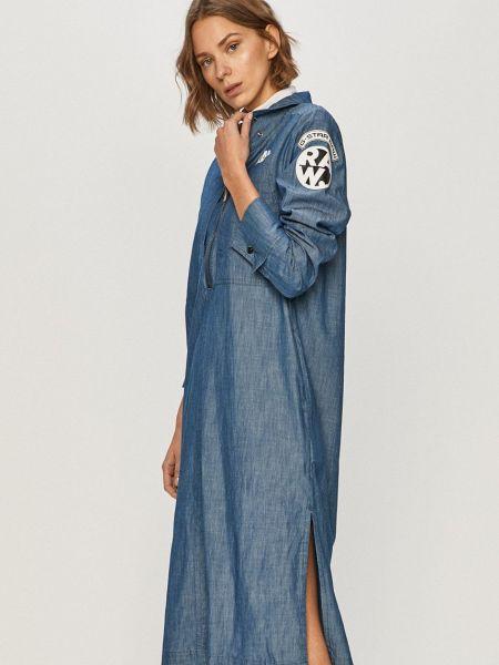 Хлопковое тонкое джинсовое платье с длинными рукавами G-star Raw
