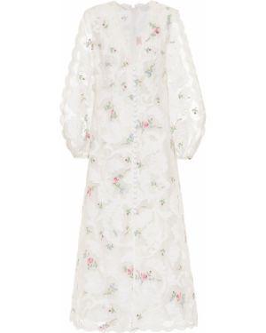 Платье миди шелковое с цветочным принтом Zimmermann