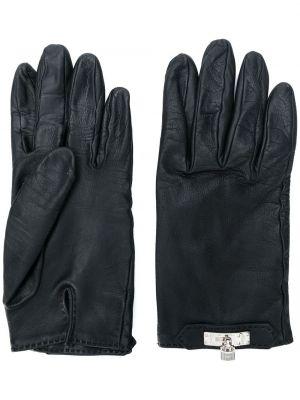 Кожаные черные кожаные перчатки винтажные Hermès