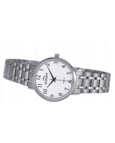 Biały klasyczny zegarek srebrny Bisset