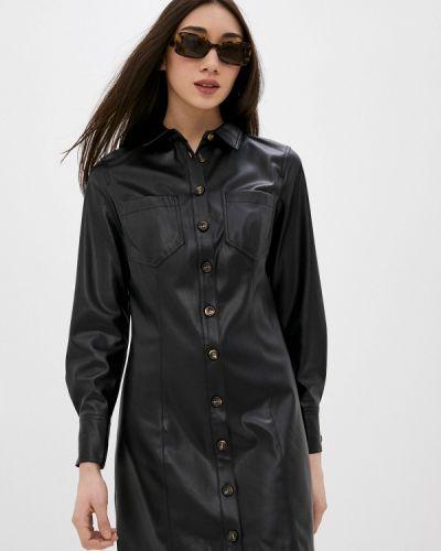 Кожаное черное платье Mango