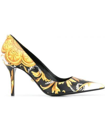 Лодочки на каблуке - желтые Versace