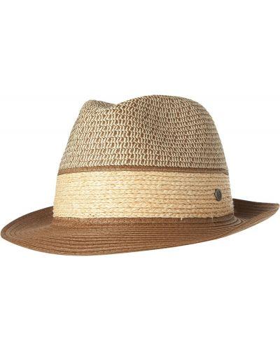 Бежевые соломенные шляпа-федора Bugatti