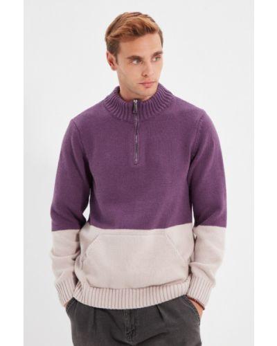 Sweter wełniany - fioletowy Trendyol