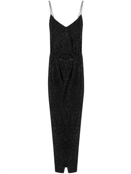 Приталенное платье со стразами с драпировкой с вырезом Balmain