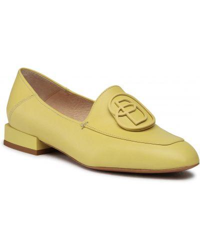 Półbuty skórzane casual - żółte Baldowski