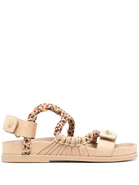 Beżowe sandały skorzane na niskim obcasie Sandro Paris
