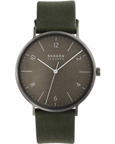 Zielony zegarek z siateczką Skagen