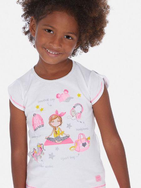 Розовая прямая футболка с вырезом Mayoral