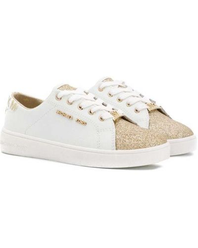 Золотистые кожаные белые кеды на шнуровке Michael Kors Kids