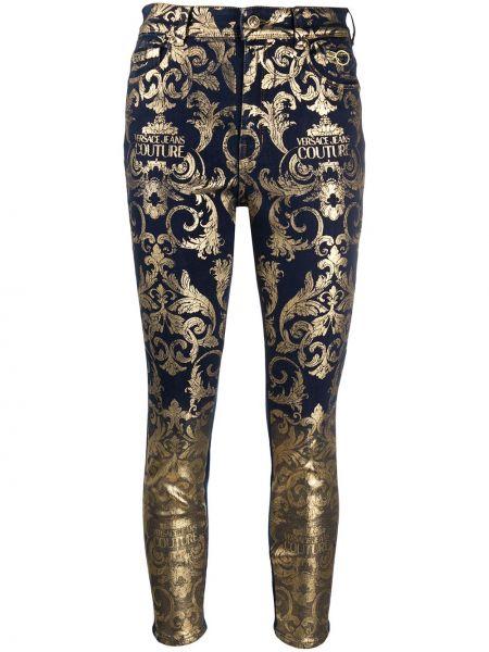 Синие зауженные джинсы-скинни с карманами Versace Jeans Couture