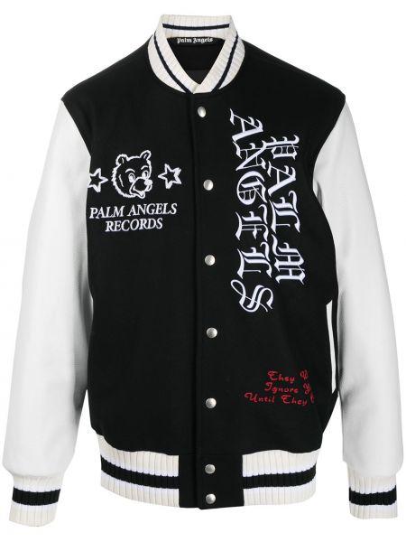 Czarna długa kurtka skórzana z haftem Palm Angels
